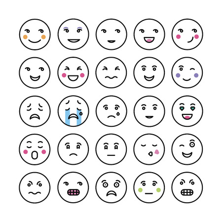set of smiley faces icons Illustration