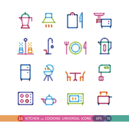 kitchen and cooking universal icons with effect of transparency Illustration
