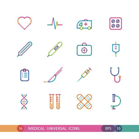 anesthesia: medical universal icons with effect of transparency