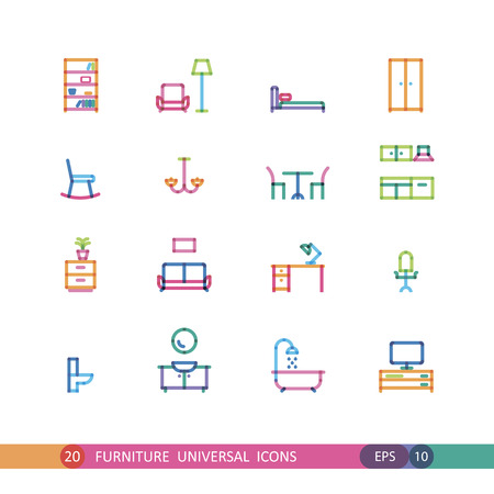 water color: set furniture universal icons with effect of transparency Illustration