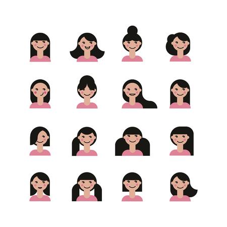 hairdress: set of cute girls