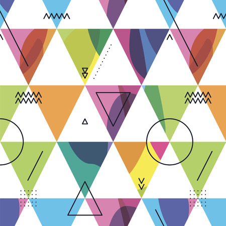 geometrical: seamless pattern from triangles with color spots and dark geometrical elements