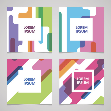 set of trendy cards with color seamless pattern