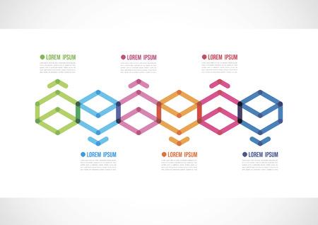 Infografía De Línea De Tiempo Horizontal Con Un Polígono De Color ...