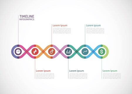 color timeline infographics with a circle in the center