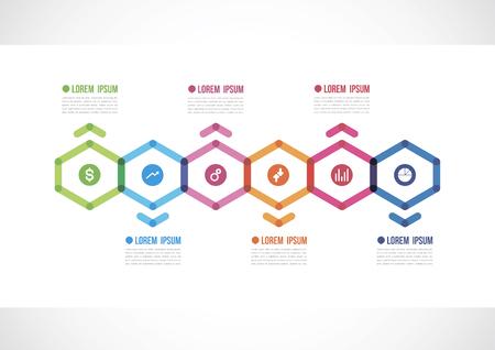 horizontal timeline infographics with  six polygon
