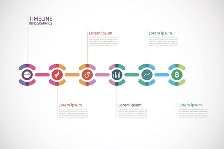horizontal timeline infographics with a circle in the center Illustration