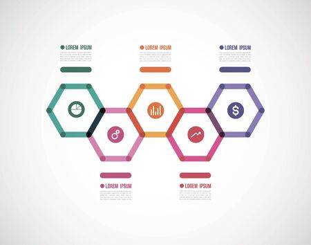 horizontal timeline infographics with a color polygon