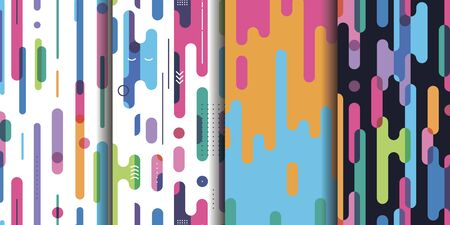 Set four bright abstract seamless patterns