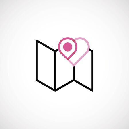 the map an icon with pink heart