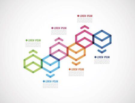 Info-graphics with six polygon. Illustration