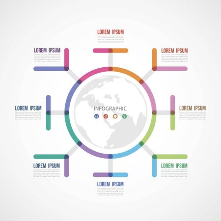 circle the infographic report about the template made of thick lines eight options Illustration