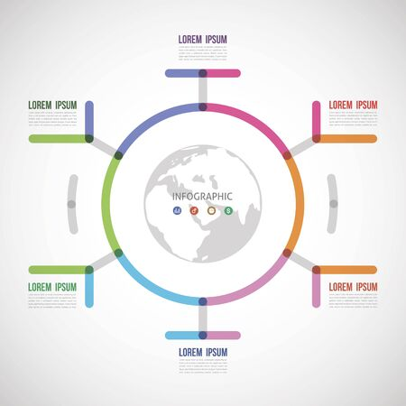 circle the infographic report about the template made of thick lines six options Illustration