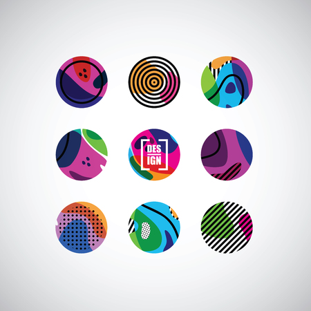 set of decor elements and stickers Illustration