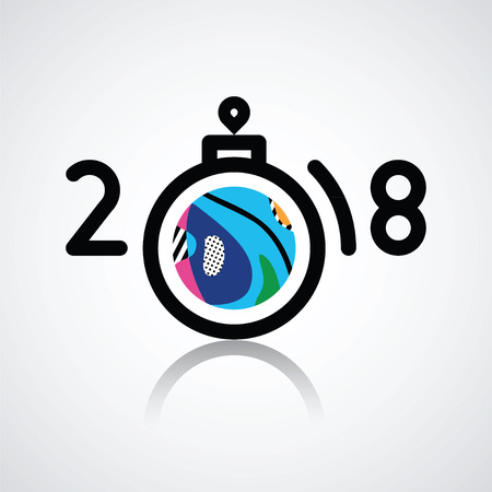 Happy new 2018  illustration with  numbers and abstract colorful sphere toy.