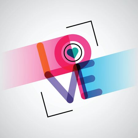 abstract love poster design with a bracket