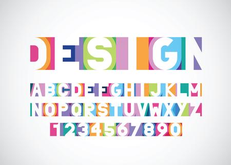 vector bright modern vibrant font Vettoriali
