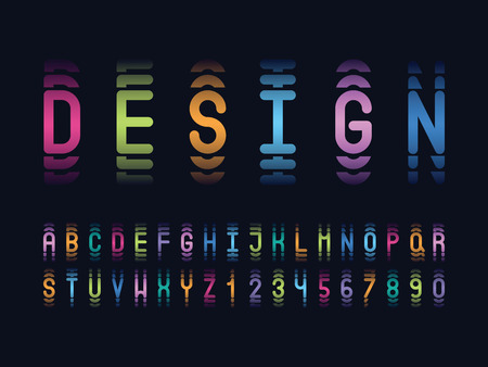 vector of stylized gradient abstract font and alphabet
