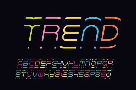 abstract color font with alphabet 向量圖像