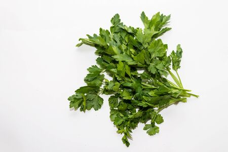 a bunch of parsley on a white background close up