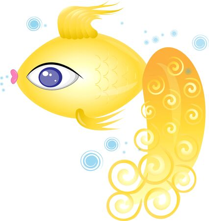 illustration of a beautiful goldfish with bubbles