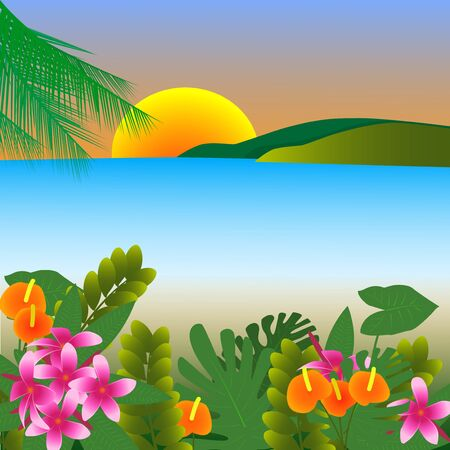 Illustration tropical flowers against the backdrop of the sea Vector Illustratie
