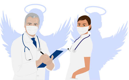 Doctors man and woman masked with wings
