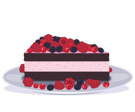Delicious chocolate cake with fruit Ilustração