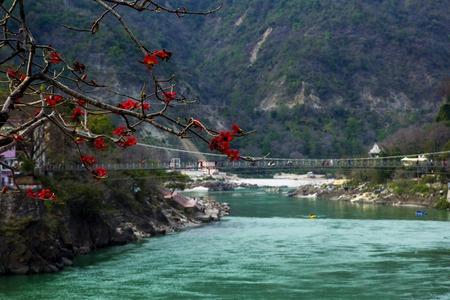 Rishikesh, 인도에서 Ganga 강 및 락 교도 jhula 브리지보기