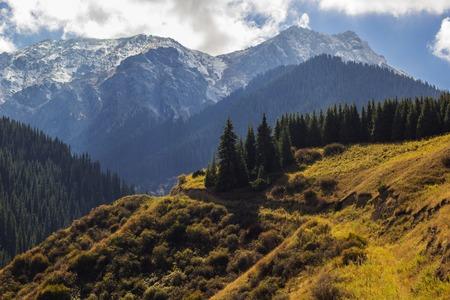 Amazing mountains in Kazakhstan near Kaindy lake in autumn
