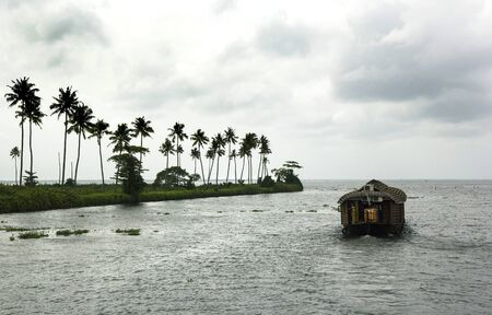Houseboat on the river of Kerala in summer beautiful day Stock Photo