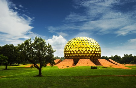 spiritual architecture: Matrimandir - Golden Temple for meditation in Auroville, Tamil Nadu, India