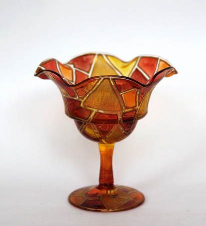 coloured glass piala, kremanki isolated on white background Stock Photo