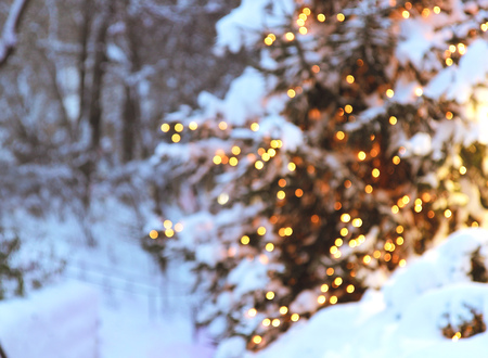 Christmas tree with lights glowing and snow