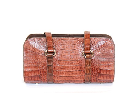 reticule: brown crocodile leatherette handbag for woman or man on white background Stock Photo