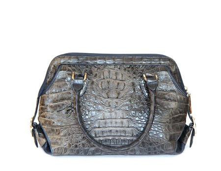 reticule: gray crocodile leatherette handbag for woman on white background