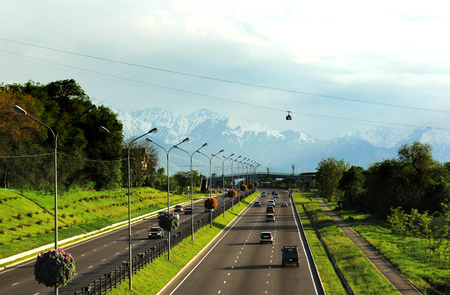 Almaty, Kazakhstan, view to the Eastern Bypass Highway and Cableway