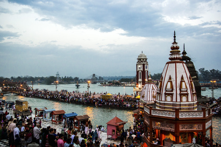 HARIDWAR, INDIA - MARCH 23, 2014: Har Ki Pauri is a famous ghat on the banks of the Ganges Editorial