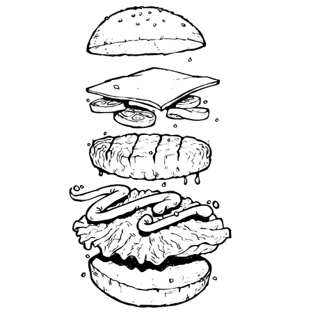 hamburger with flying ingredients in black and white