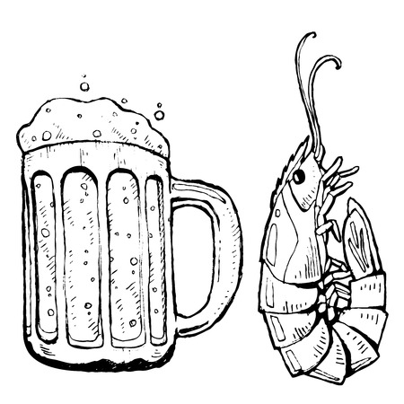 Cartoon Lobster and Beer in black and white