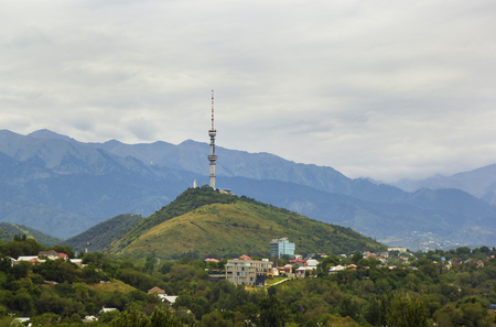 view of Communication tower on Kok Tobe hill, Almaty Kazakhstan. Stock Photo