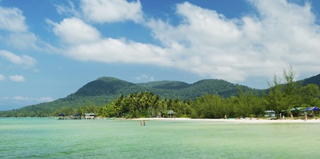 Beautiful tropical beach with white sand and clear blue water. Phu Quoc island, Vietnam.
