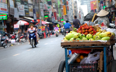 fruit in Vietnamese street in Ho Chi Minh city, Vietnam
