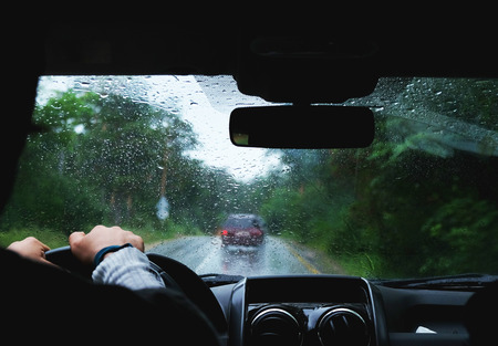 Driving a car in rainy weather