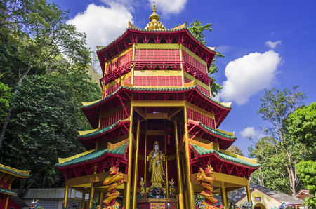 Chinese style pagoda with at Tiger Cave Temple, Wat Tham Seua in Krabi province, Thailand.