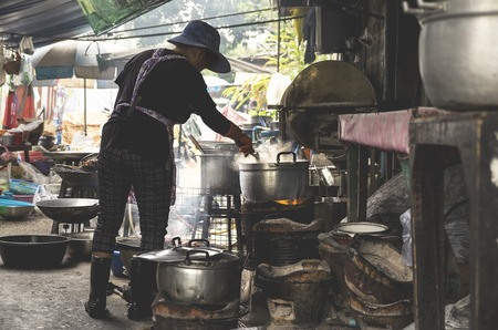 Process of cooking in the street of Bangkok, Thailand