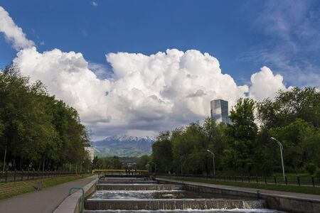 Almaty in summer, Vesnovka river and beautiful sky, Kazakhstan