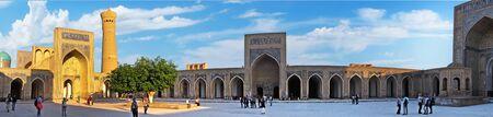 Bukhara, Uzbekistan - 30 April 2019 - Panoramic view of inner yard of Kalyan Mosque, part of the Po-i-Kalyan Complex, Bukhara, Uzbekistan.