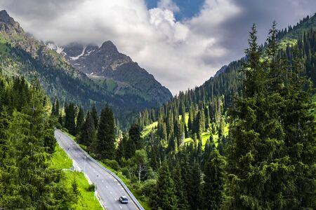 Beautiful view to the mountains on the way to Shymbulak, Almaty, Kazakhstan
