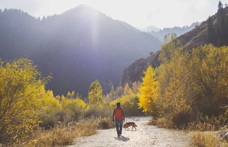 Man walking with dog in the mountains in autumn.